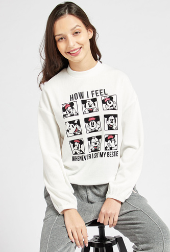 Mickey Mouse Graphic Print Crew Neck Sweatshirt with Long Sleeves