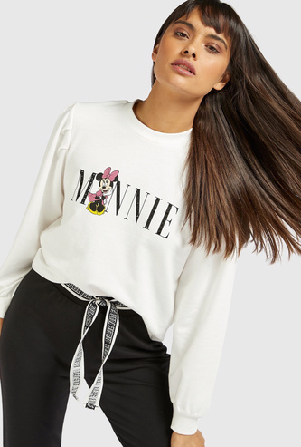 Minnie Mouse Graphic Print Cropped Sweatshirt with Long Sleeves