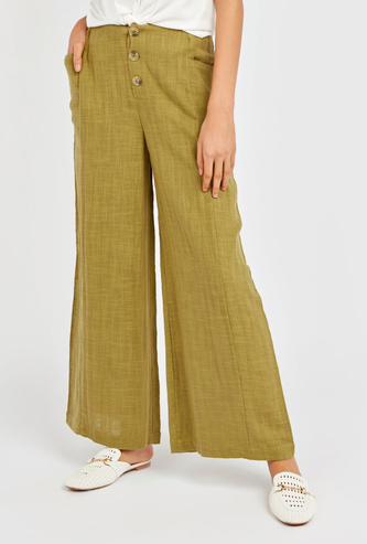 Textured Ankle Length Mid-Rise Palazzos