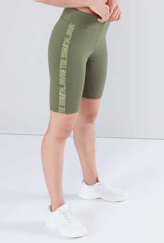 Text Printed Shorts with Elasticized Waistband