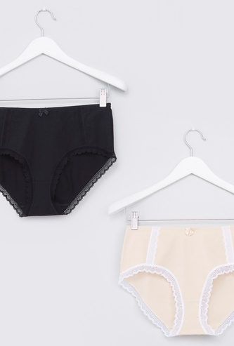Lace Detail Hipister Briefs with Bow Applique - Set of 2