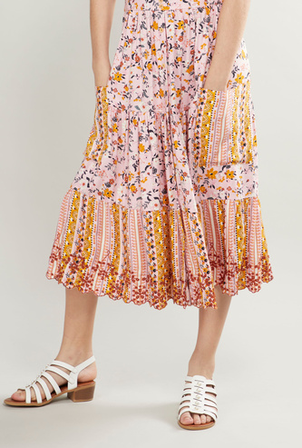 Floral Printed Skirt with Pocket Detail and Elasticised Wasitband