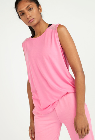 Textured Sleeveless Top with Round Neck
