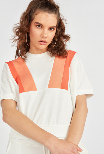 Colour Block Top with Short Sleeves