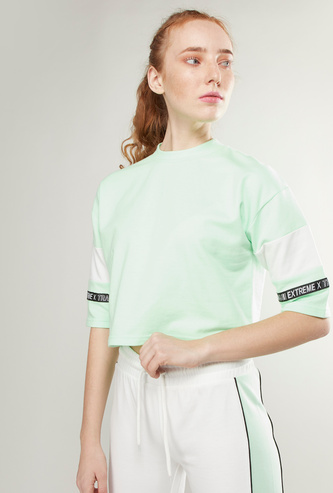 Colourblock High Neck Cropped Boxy T-shirt with Short Sleeves