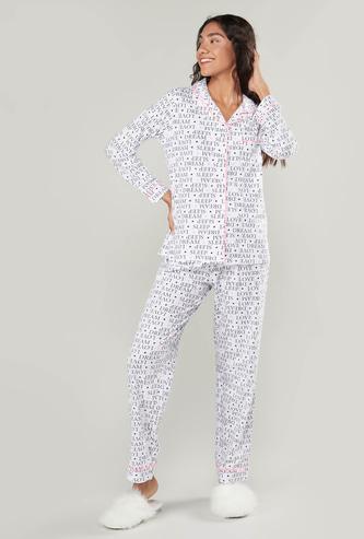 Slogan Printed Shirt and Pyjama Set