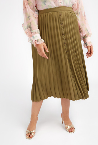 Textured Midi A-line Skirt with Elasticised Waistband