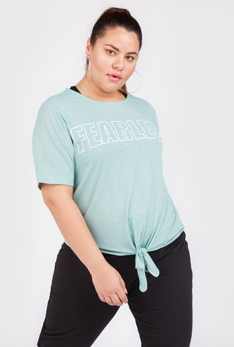 Slogan Print Round Neck Top with Short Sleeves and Front Knot Detail
