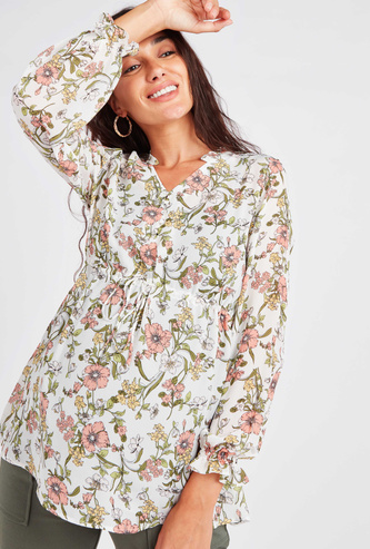 Maternity Floral Printed Top with V-neck and Flounce Sleeves