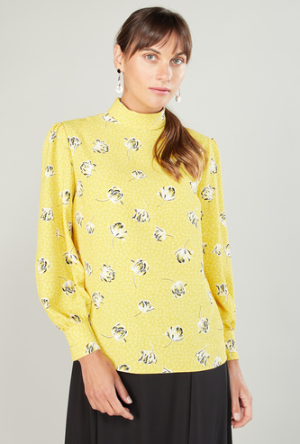 Printed Top with High Neck and Bishop Sleeves
