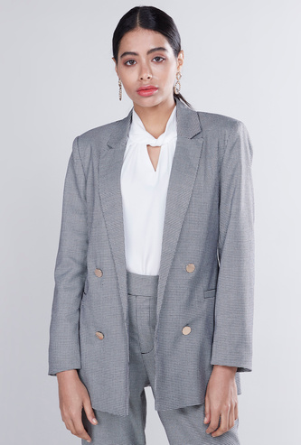 Chequered Formal Jacket with Notched Lapel and Long Sleeves