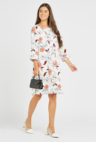 Floral Print Mini Shift Dress with 3/4 Sleeves