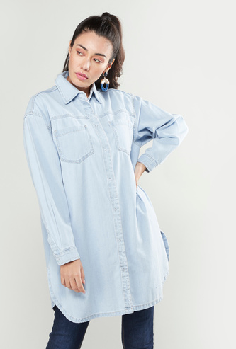 Denim Longline Shirt with Long Sleeves and Chest Pockets
