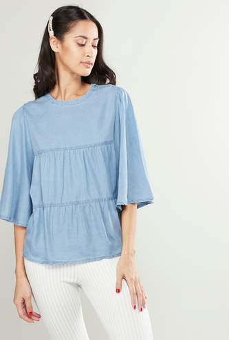 Solid Round Neck Ruffled Top with Bell Sleeves