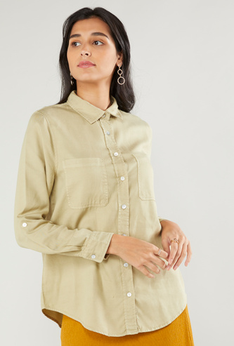 Solid Denim Shirt with Long Sleeves and Pocket Detail