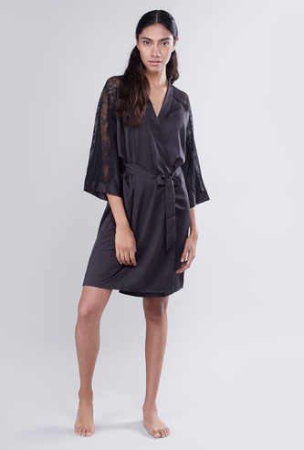 Solid V-Neck Robe with Lace 3/4 Sleeves