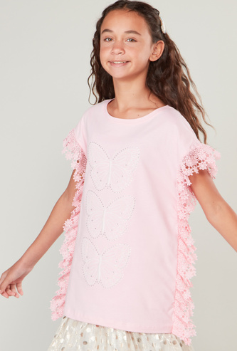 Lace Detail Top with Round Neck and Cap Sleeves