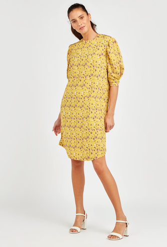 Floral Print High Neck Shift Dress with Volume Sleeves