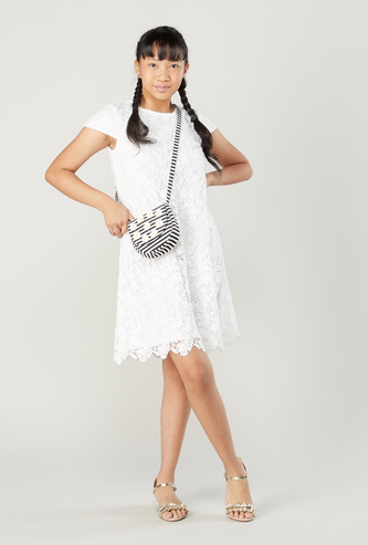 Lace Dress with Round Neck and Cap Sleeves