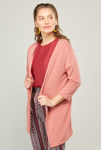 Textured Shrug with Long Sleeves