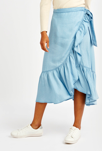 Textured Midi Wrap Skirt with Frill Detail and Tie Ups