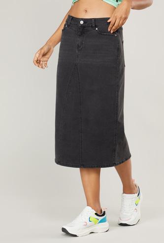 Denim Mid-Rise Midi Skirt with Pockets