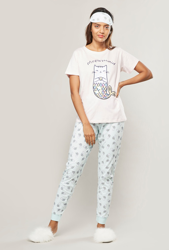 Flamingo Print 3-Piece Sleepwear Set with Reversible Eye Mask