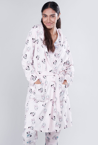 Printed Robe with Hood