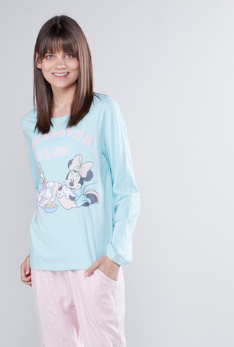 Minnie Mouse Daisy Duck Printed T-shirt and Full Length Pyjama Set