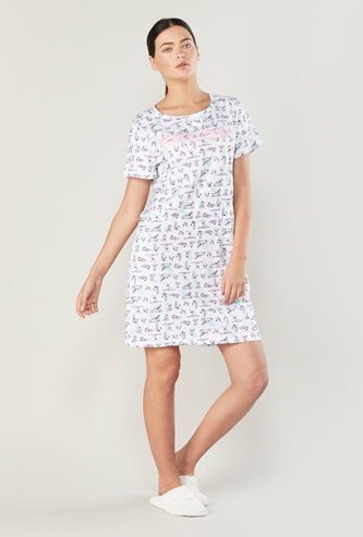 Snoopy Print Sleepshirt with Short Sleeves