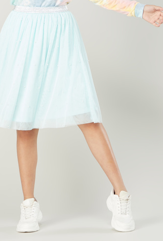 Textured Skirt with Elasticised Waistband and Pearl Detail