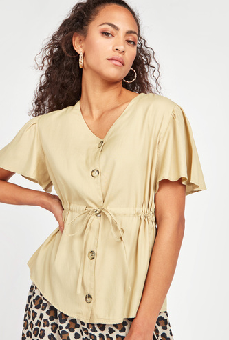 Solid V-neck Top with Short Sleeves and Front Knot Detail