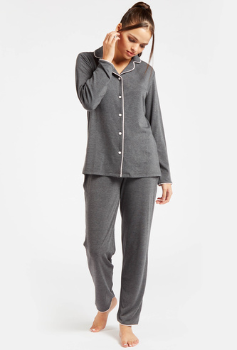 Solid Collared Shirt and Full Length Pyjama Set