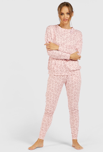 All-Over Print Long Sleeves Sweatshirt and Pyjama Set