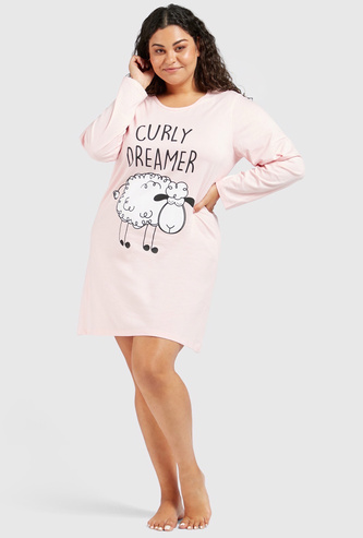 Printed Round Neck Sleepshirt with Long Sleeves