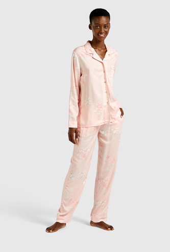All-Over Floral Print Long Sleeves Sleepshirt and Pyjama Set