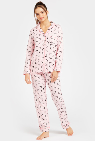 All-Over Panda Print Long Sleeves Sleepshirt and Pyjama Set