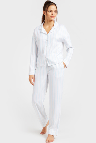 Striped Long Sleeves Sleepshirt and Full Length Pyjama Set