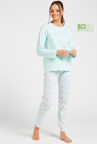 Printed Round Neck T-shirt and Full Length Pyjama Set