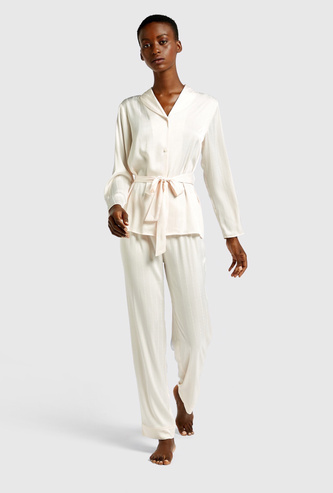 Textured Long Sleeves Sleepshirt and Pyjama Set