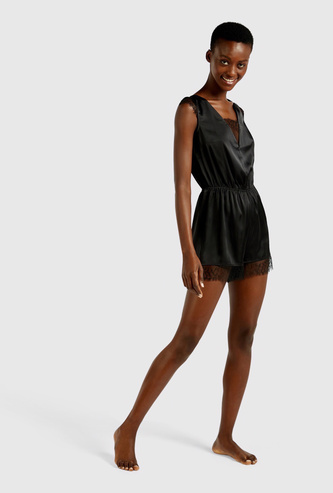Lace Detail Sleeveless Playsuit with Tie-Ups