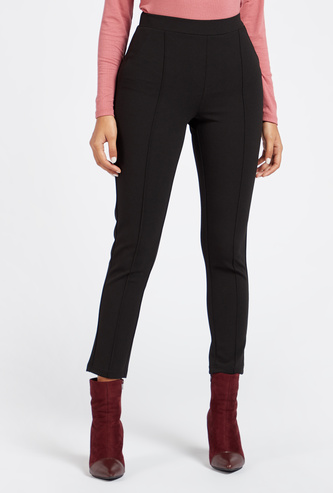 Solid Cropped Ponte Leggings with Elasticised Waistband