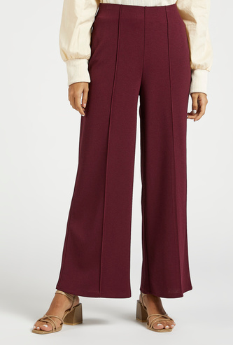Solid Full Length Mid-Rise Palazzos with Elasticised Waistband