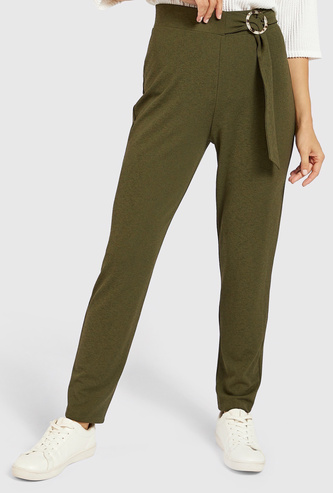 Solid Pants with Buckle Detail