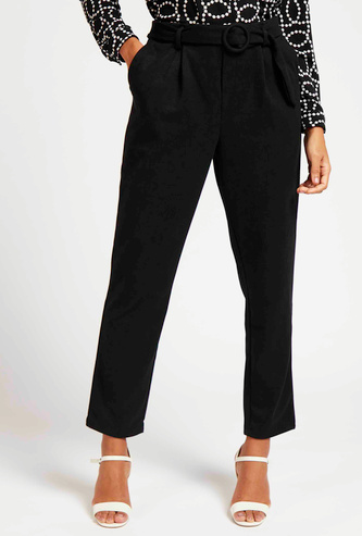 Solid Ankle-Length Trousers with Pockets and Belt Detail