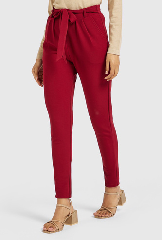 Solid Mid-Rise Paperbag Waist Pants with Pockets and Tie-Up Belt