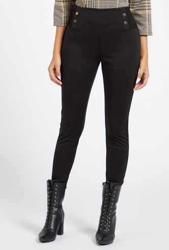 Solid Ponte Pants with Elasticised Waistband and Button Detail