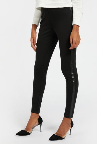 Solid Mid-Rise Full Length Ponte Pants with Tape Detail