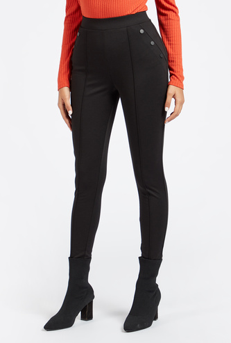 Full Length Solid Mid-Rise Ponte Leggings with Elasticised Waistband