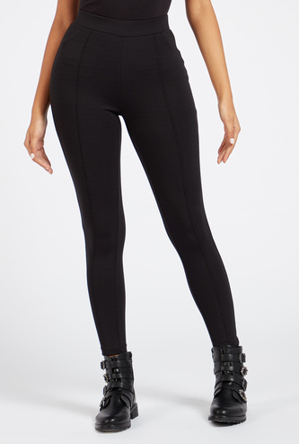 Skinny Fit Solid Mid-Rise Leggings with Elasticised Waistband